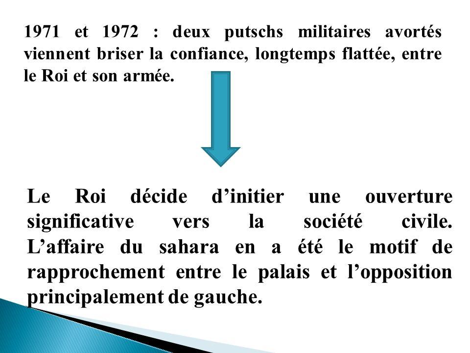 1971 et 1972 : deux putschs militaires avortés viennent briser la confiance, longtemps flattée, entre le Roi et son armée.