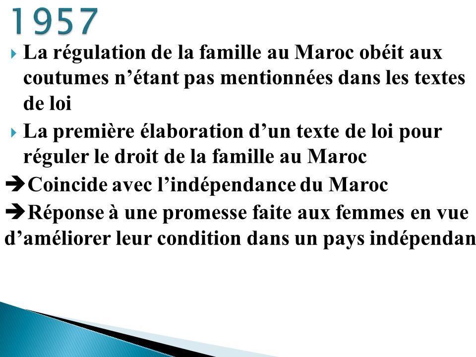1957 La régulation de la famille au Maroc obéit aux coutumes n'étant pas mentionnées dans les textes de loi.