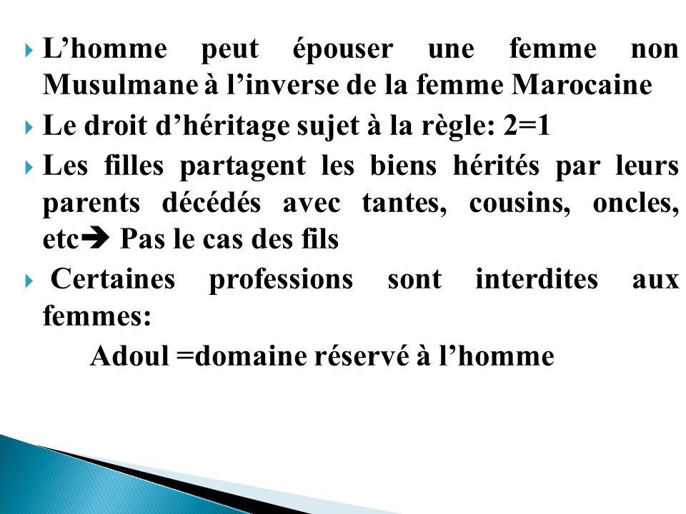 L'homme peut épouser une femme non Musulmane à l'inverse de la femme Marocaine
