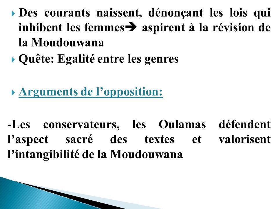 Des courants naissent, dénonçant les lois qui inhibent les femmes aspirent à la révision de la Moudouwana