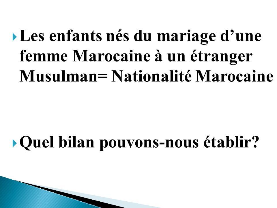 Les enfants nés du mariage d'une femme Marocaine à un étranger Musulman= Nationalité Marocaine