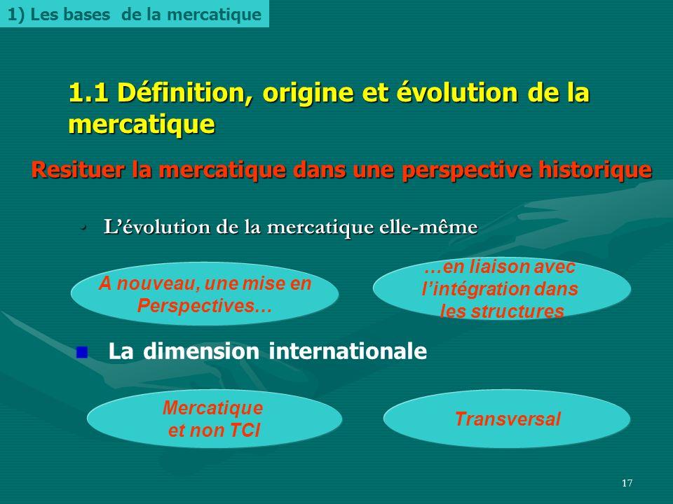 1.1 Définition, origine et évolution de la mercatique