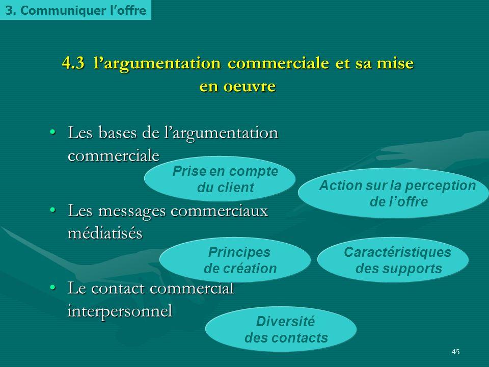 4.3 l'argumentation commerciale et sa mise en oeuvre