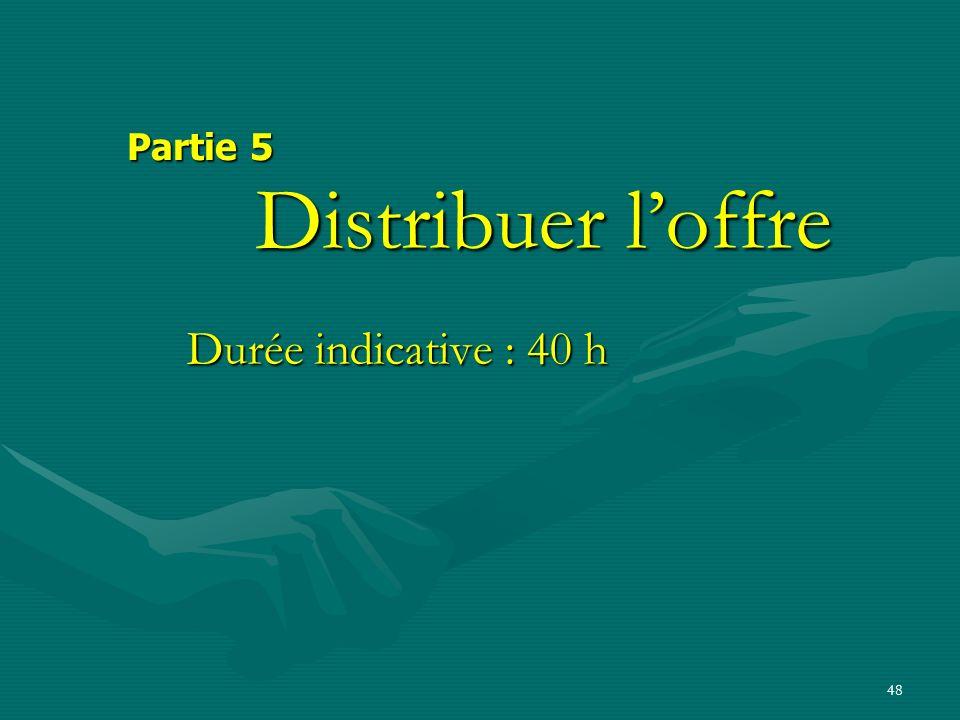 Partie 5 Distribuer l'offre Durée indicative : 40 h