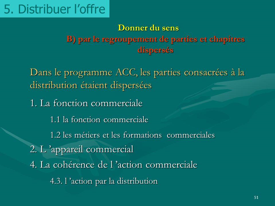 5. Distribuer l'offre Donner du sens B) par le regroupement de parties et chapitres dispersés.