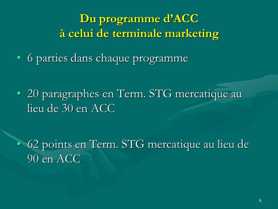Du programme d'ACC à celui de terminale marketing