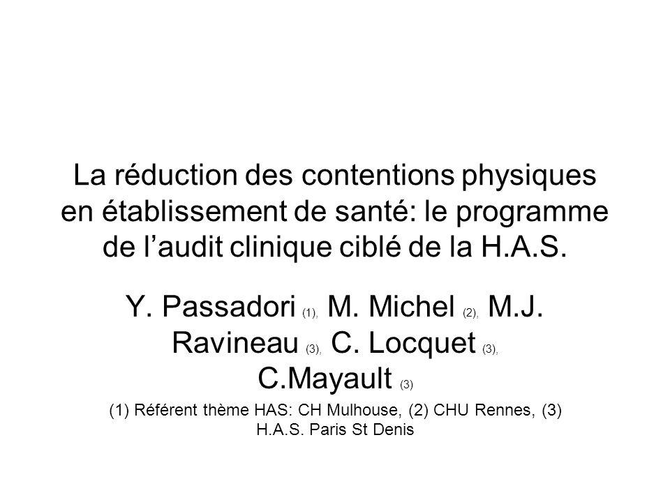 La réduction des contentions physiques en établissement de santé: le programme de l'audit clinique ciblé de la H.A.S.