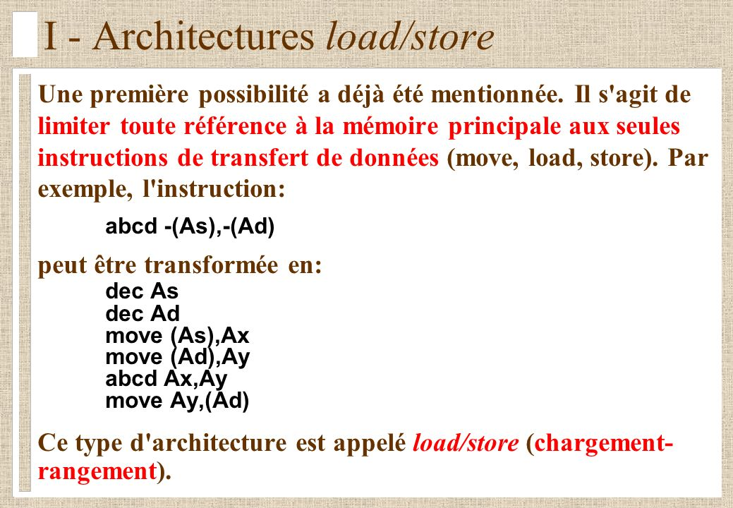 I - Architectures load/store