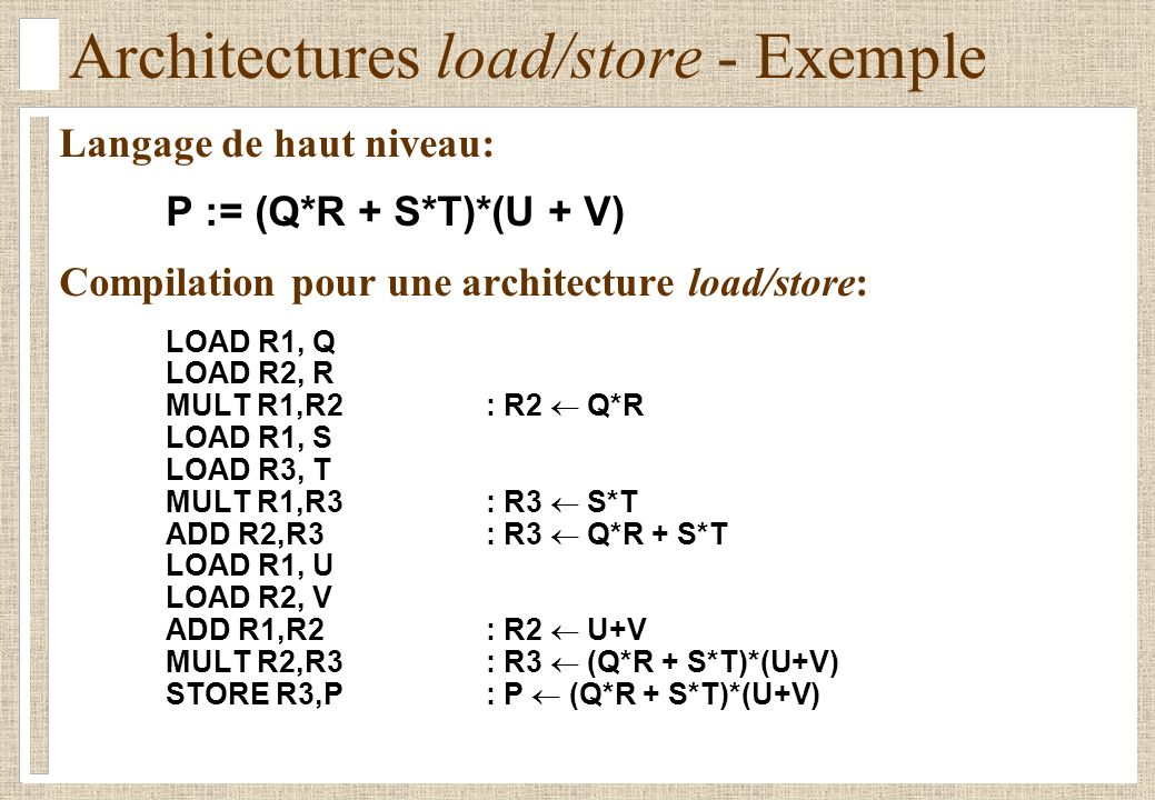 Architectures load/store - Exemple