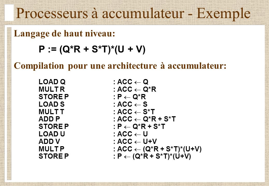 Processeurs à accumulateur - Exemple