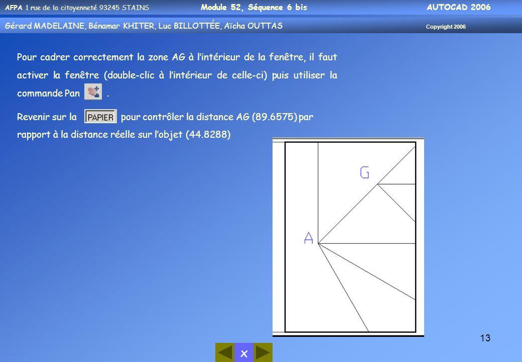 Pour cadrer correctement la zone AG à l'intérieur de la fenêtre, il faut activer la fenêtre (double-clic à l'intérieur de celle-ci) puis utiliser la commande Pan .