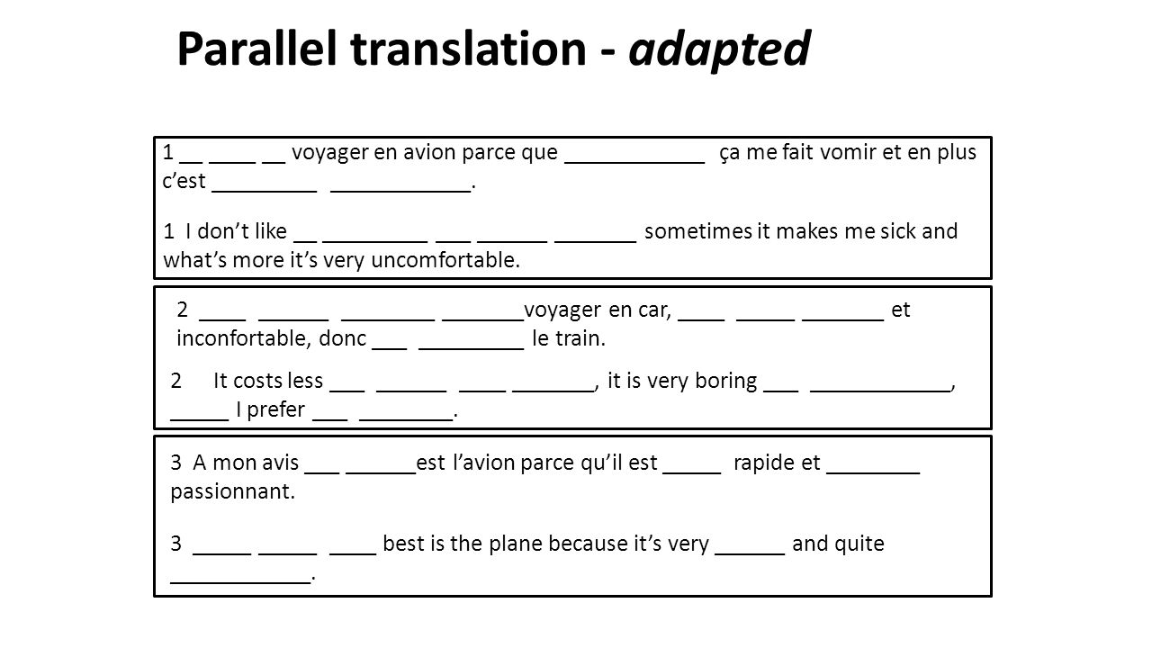 Parallel translation - adapted