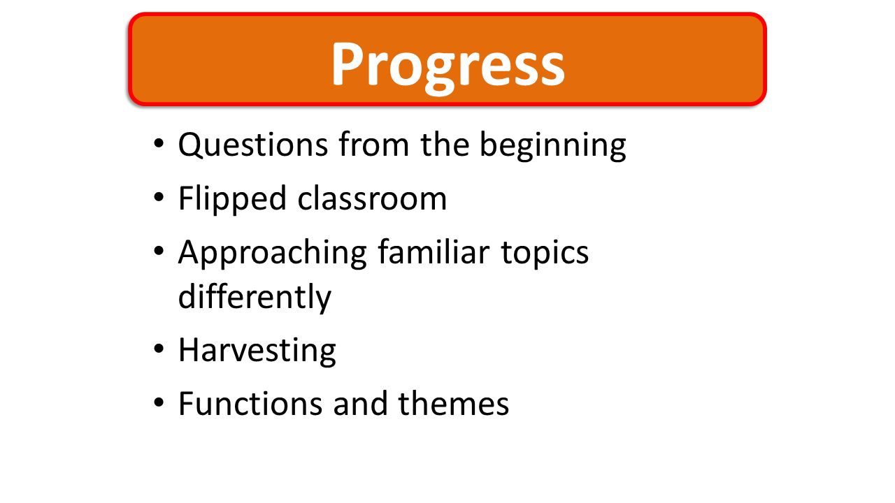 Progress Questions from the beginning Flipped classroom