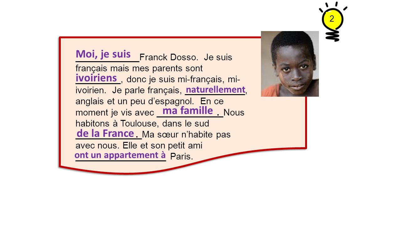 Moi, je suis ivoiriens ma famille de la France naturellement