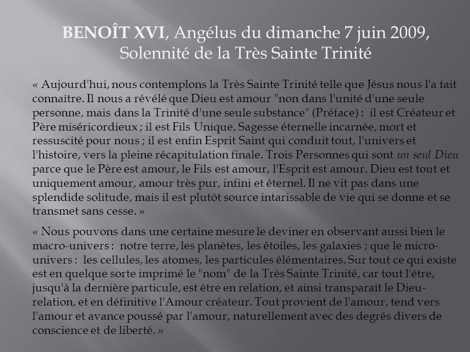 BENOÎT XVI, Angélus du dimanche 7 juin 2009, Solennité de la Très Sainte Trinité