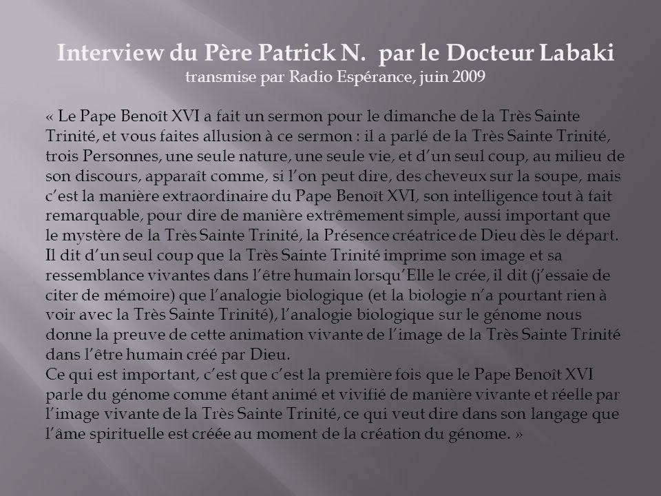 Interview du Père Patrick N. par le Docteur Labaki