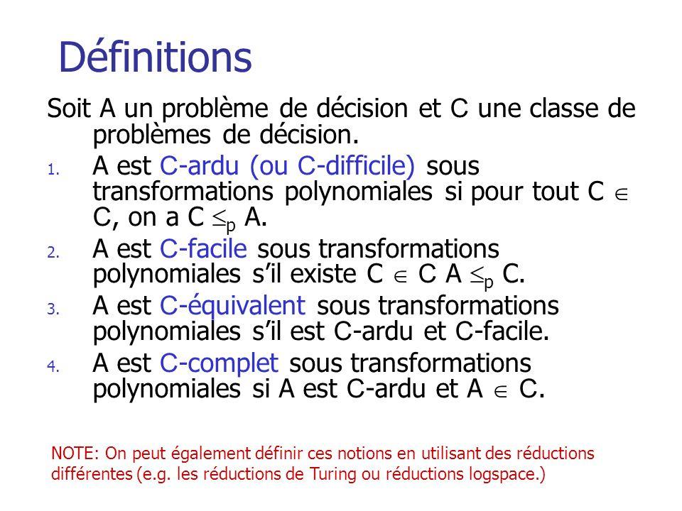 Définitions Soit A un problème de décision et C une classe de problèmes de décision.