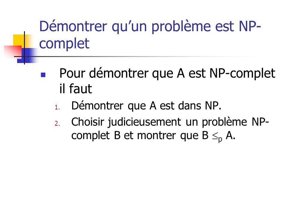 Démontrer qu'un problème est NP-complet
