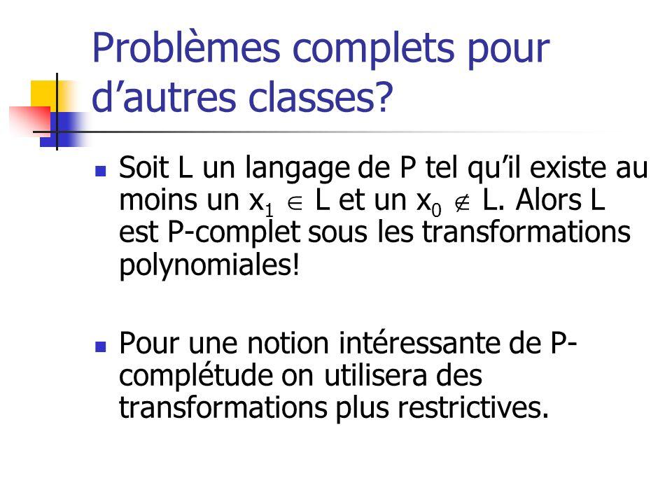 Problèmes complets pour d'autres classes