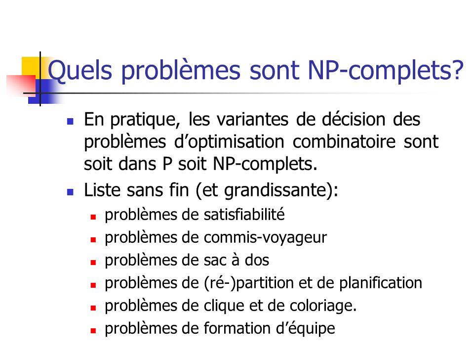 Quels problèmes sont NP-complets