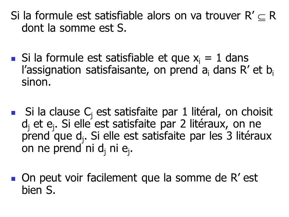 Si la formule est satisfiable alors on va trouver R'  R dont la somme est S.