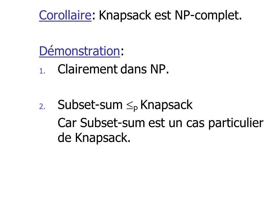 Corollaire: Knapsack est NP-complet.