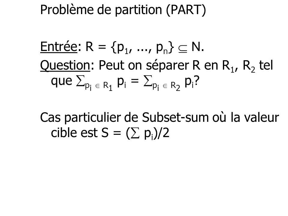 Problème de partition (PART)