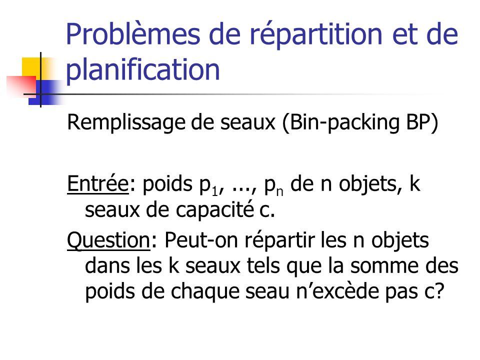 Problèmes de répartition et de planification