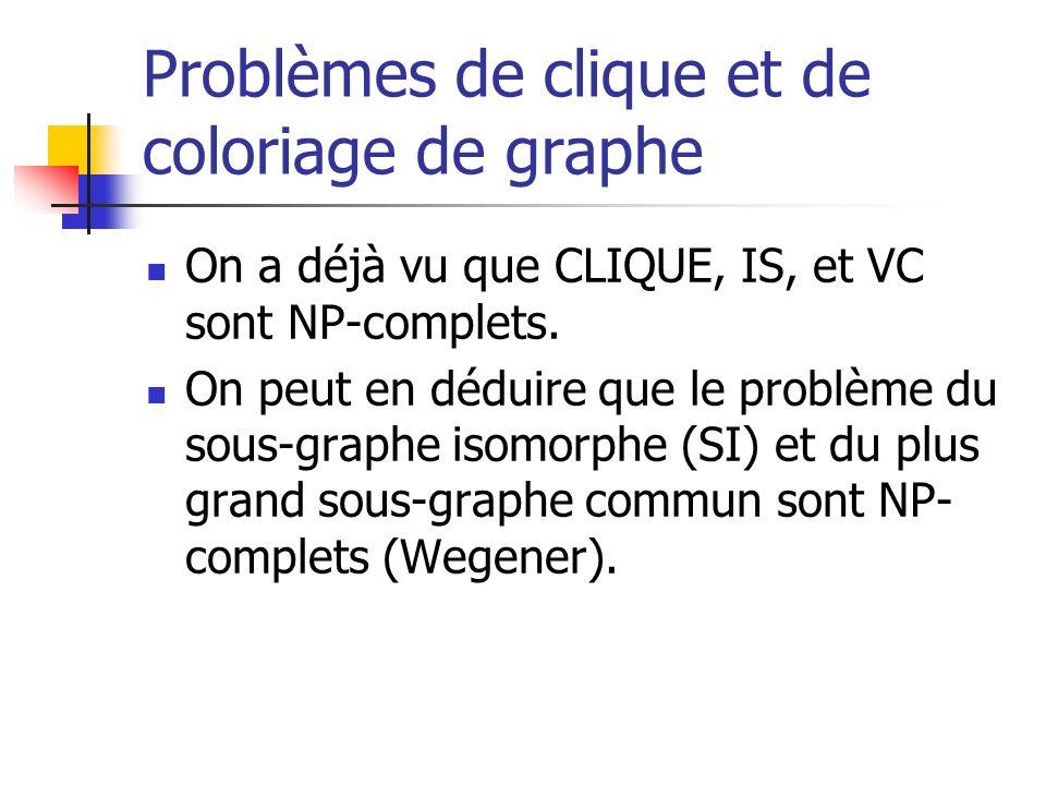 Problèmes de clique et de coloriage de graphe