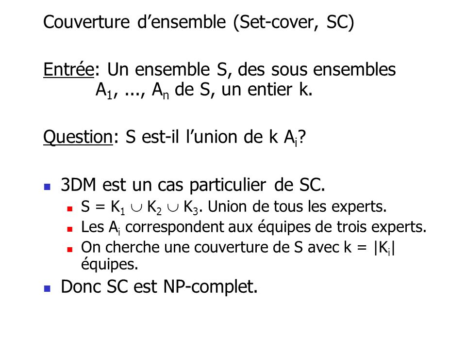 Couverture d'ensemble (Set-cover, SC)