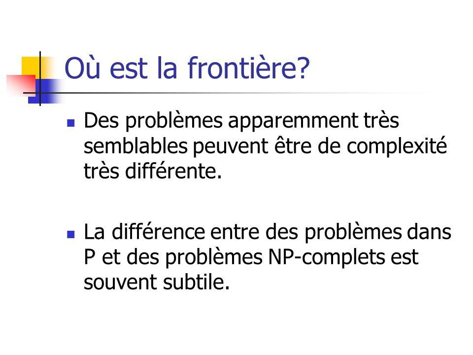 Où est la frontière Des problèmes apparemment très semblables peuvent être de complexité très différente.