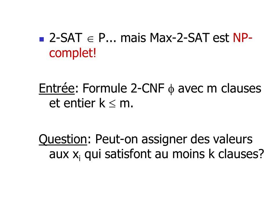 2-SAT  P... mais Max-2-SAT est NP-complet!
