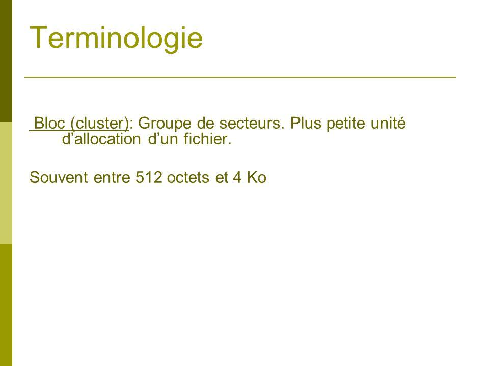 Terminologie Bloc (cluster): Groupe de secteurs. Plus petite unité d'allocation d'un fichier.
