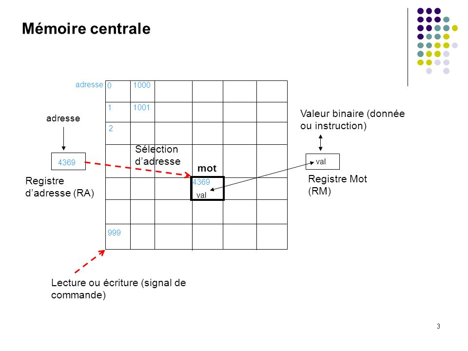 Mémoire centrale Valeur binaire (donnée ou instruction)