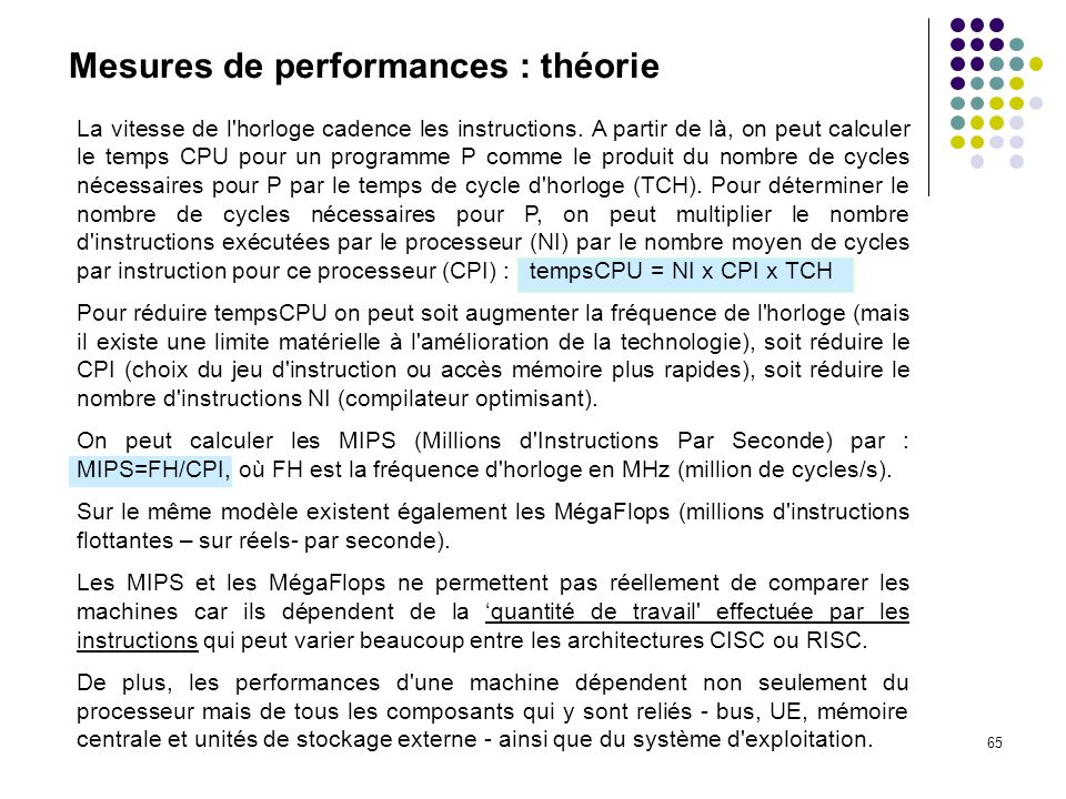 Mesures de performances : théorie