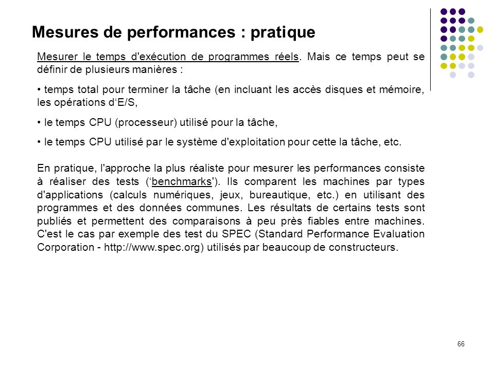 Mesures de performances : pratique