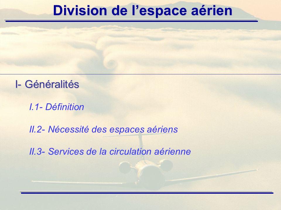 I- Généralités I.1- Définition II.2- Nécessité des espaces aériens