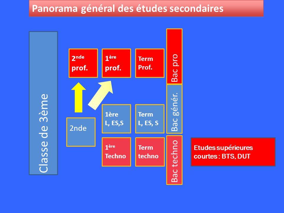 Classe de 3ème 2nde Panorama général des études secondaires Bac pro