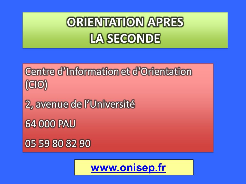 ORIENTATION APRES LA SECONDE