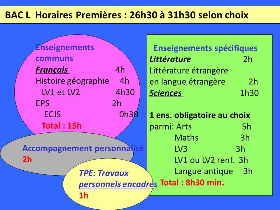 BAC L Horaires Premières : 26h30 à 31h30 selon choix