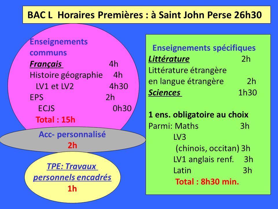 BAC L Horaires Premières : à Saint John Perse 26h30
