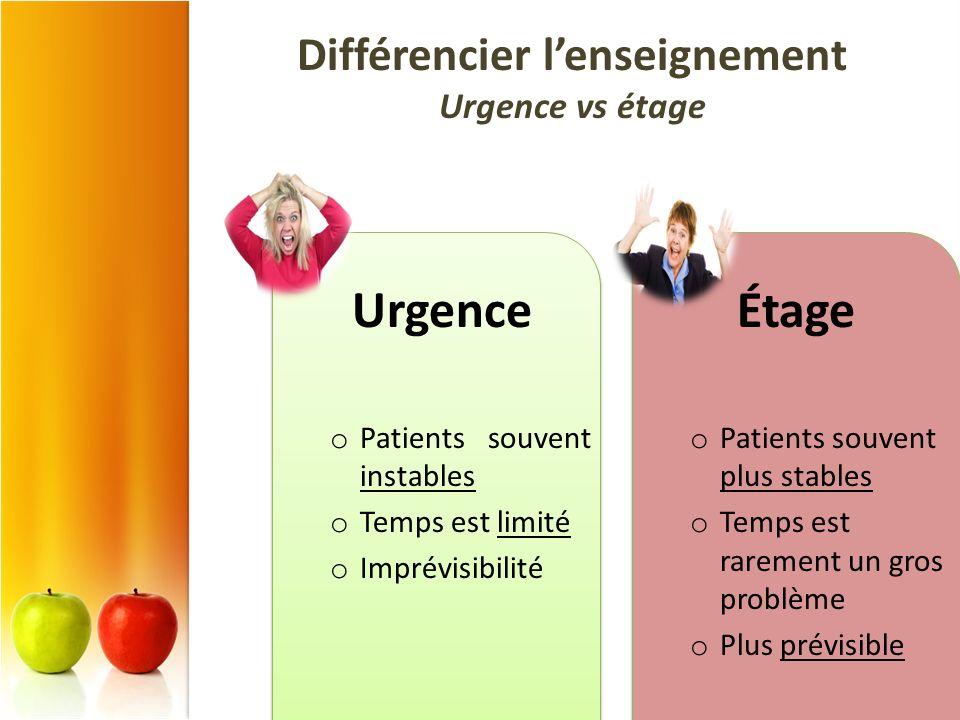 Différencier l'enseignement Urgence vs étage
