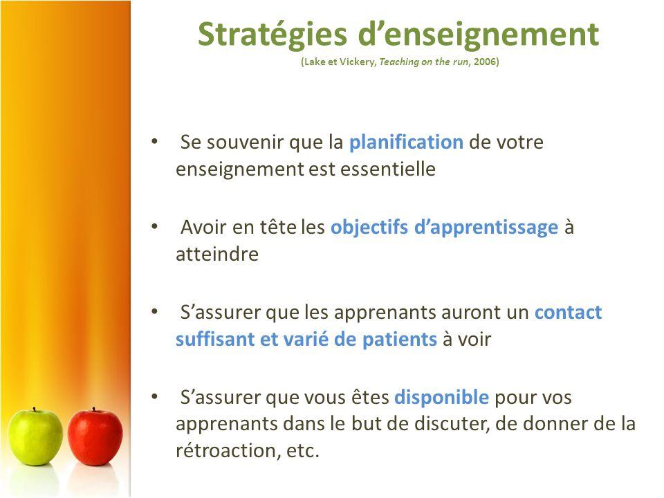 Stratégies d'enseignement (Lake et Vickery, Teaching on the run, 2006)