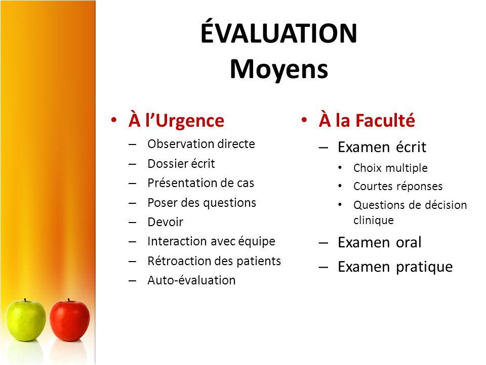 ÉVALUATION Moyens À l'Urgence À la Faculté Examen écrit Examen oral