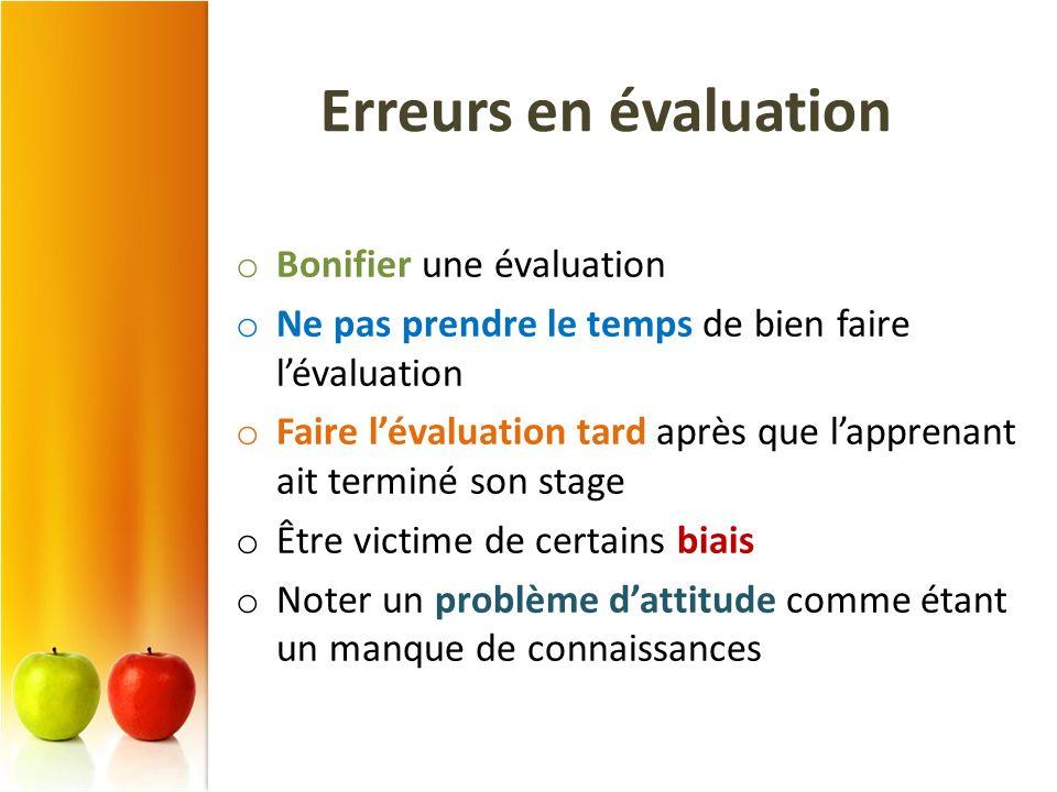 Erreurs en évaluation Bonifier une évaluation