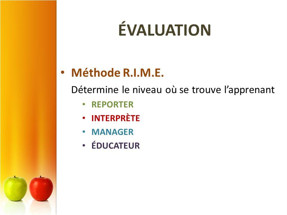 ÉVALUATION Méthode R.I.M.E.