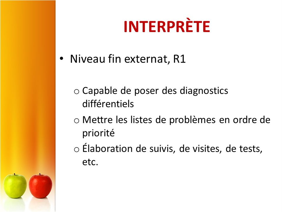 INTERPRÈTE Niveau fin externat, R1
