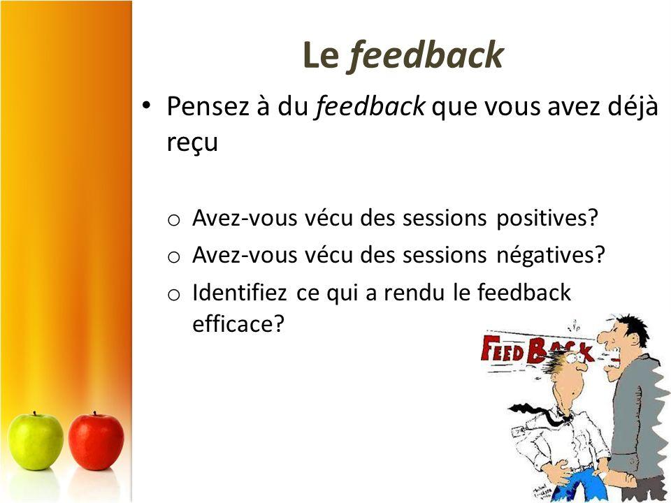 Le feedback Pensez à du feedback que vous avez déjà reçu