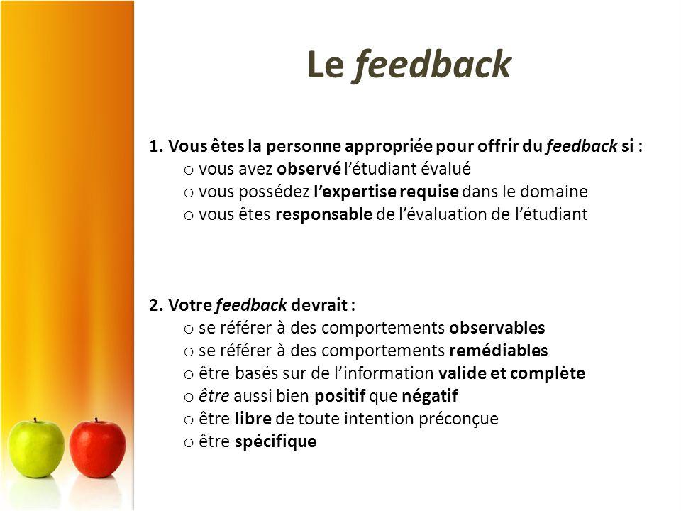 Le feedback 1. Vous êtes la personne appropriée pour offrir du feedback si : vous avez observé l'étudiant évalué.