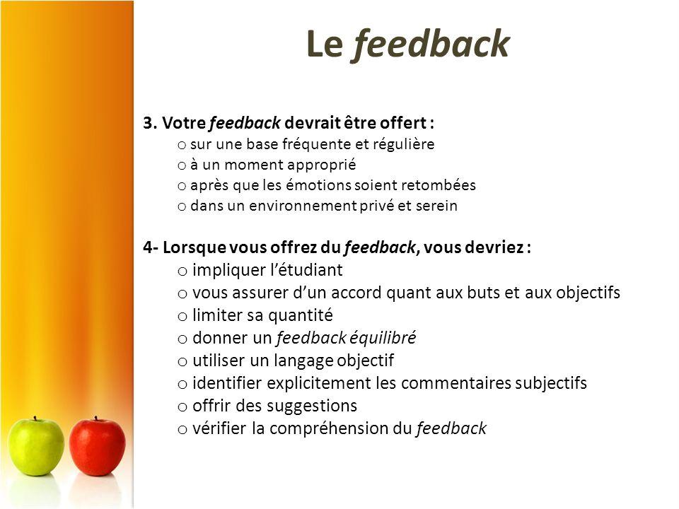 Le feedback 3. Votre feedback devrait être offert :